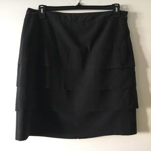 Black Ruffle Pencil Skirt